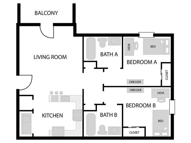Austin Residence Complex 2 Bed 2 Bath Floor Plan