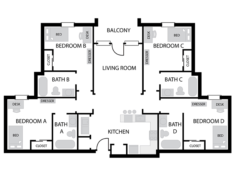 Austin Residence Complex 4 Bedroom 4 Bath Floor Plan