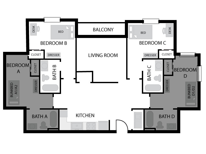 6 bedroom floor plan in University Courtyard