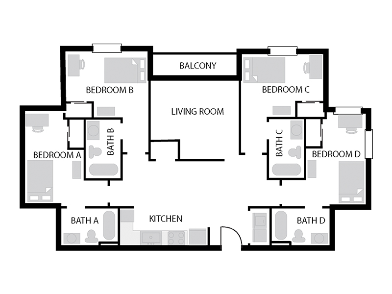 University Courtyard 4 Bed 4 Bath Floor Plan